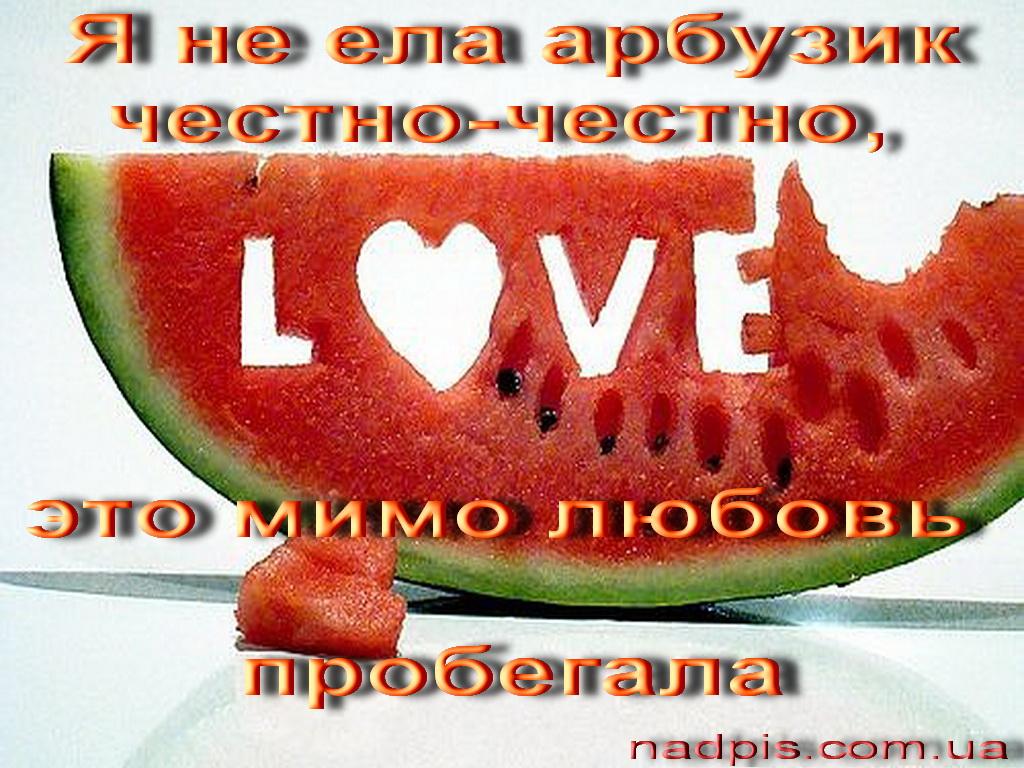 Я не ела арбузик честно-честно, это мимо любовь пробегала.  Юмористическая яркая картинка поднимет настроение, даже...